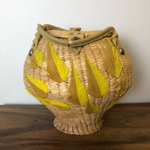 Vintage embroidered Clasp Basket Yellow